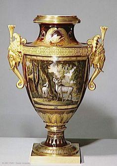 """Manufacture de Sèvres  Paire de vases """"Clodion"""" de Monsieur  1817  Sèvres  Porcelaine dure, bronze doré  Acquisition, 1991  Cartels par Jean-Charles Develly   Musée du Louvre   Paris"""