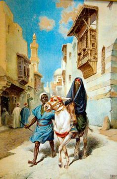 Two figures with Donkey in Cairo  By Vittorio Rappini (Italian, 1877-1939)  watercolor on paper