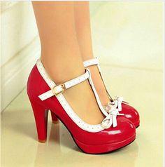 b71c6de158a Mary Janes Vintage Womens T-Strap High Heels Bowtie Sweet Lolita Shoes  Pumps SZ