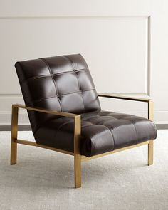 """Handcrafted chair. Hardwood frame with brass finish. Leather upholstery. 32""""W x 33""""D x 32""""T. Seat, 28""""W x 21""""D x 17""""T; arms, 21""""T. Dovetailed joints. Made in the USA. Boxed weight, approximately 40 lb"""