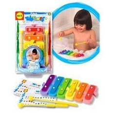 Tub Tunes: Water Xylophone by Alex Toys. $17.99. Make beautiful music with the Tub Tunes Water Xylophone, a real instrument that floats in the tub. Little musicians can learn to play songs with the included waterproof song sheets, or experiment by disconnecting the keys and sticking them to the bathtub walls. Works both in and out of the tub. Includes two mallets.