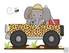 Elefante Jeep Mural Wall Decals Baby Boy vivero de selva habitación adhesivos para coches Decoración