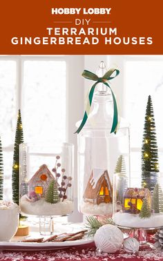 Craft mini-wonderland centerpieces that will last for years to come with oven-bake clay and candle holders. Christmas Projects, Decor Crafts, Christmas Diy, Christmas Crafts, Diy Crafts, Christmas Stuff, Christmas Trees, Oven Bake Clay, Holiday Fun