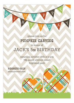 Fall comes up quicker than you think. It's time to start looking for pumpkin party carving ideas for fall party! Pumpkin Fun Invitation is an excellent design choice that will get your creative juices flowing. It is handily available on Polka Dot Design. Fall Party Invitations, Halloween Birthday Invitations, Fall Birthday Parties, Birthday Ideas, Invites, Happy Birthday, Fall Harvest Party, Christmas Spectacular, Pumpkin Picking
