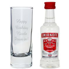 Personalised Shot Glass and Miniature Vodka Set - Text Only  from Personalised Gifts Shop - ONLY £10.99