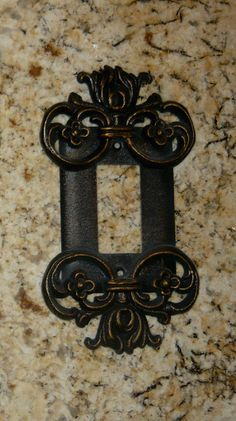Metal Single Rocker Switch Plate Cover  Old World Medieval Tuscan style decor
