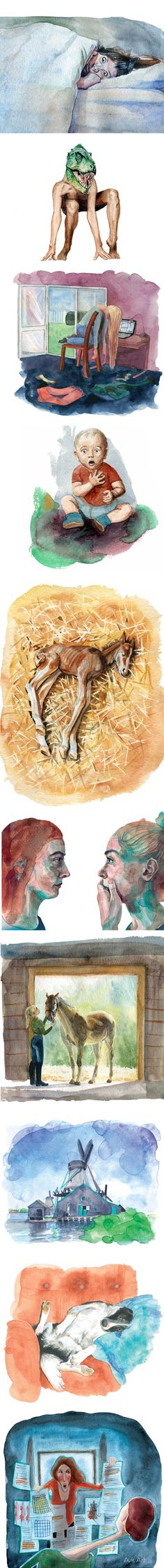 "Watercolour illustrations by AVIS / Monika Volakova (for the slovak book ""Čo som komu urobila?"")"