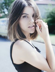 Almost exactly what I want. Long bob, dark brown and ombre, except with side swept bangs!