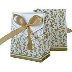 WINOMO 100pcs Gold Ribbon Wedding Sweet Cake Gift Candy Boxes Bags *** More info could be found at the image url.