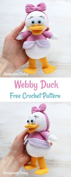 """Let's crochet a pretty Webby Duck, the character of popular cartoon """"Duck Tales"""". It will make a cute gift for your little or big girl : )"""