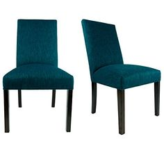 Sole Designs The SL2008 Collection Contemporary Style Fabric Upholstered  Armless Dining Side Chairs (Set Of 2), Teal