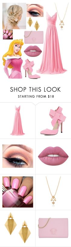 """""""Disney Prom- Aurora"""" by theclocker ❤ liked on Polyvore featuring Disney, WithChic, Stephanie Kantis and Versace"""