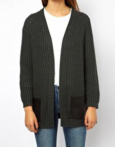 ASOS Chunky Cardi With Leather Look Pocket