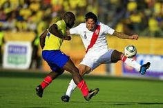 Colombia 0 Peru 2 aet in 2011 in Cordoba. Luis Perea gets his cross over despite Manuel Vargas moving in for the ball in the Quarter Final at Copa America.