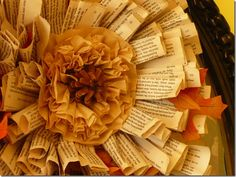 coffeefilter rosettes and book page wreath
