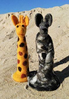Nadelfilzen Tiere, Giraffe und Wolf, handgefilzt