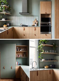 This modern kitchen combines wood cabinets with leather handles, and sage green walls with a white backsplash. Home, Wood Cabinets, Green Kitchen Cabinets, Kitchen Room Design, White Kitchen Cabinets, Kitchen Interior, Interior Design Kitchen, Modern Kitchen Green, Kitchen Style