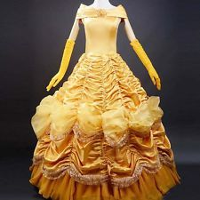 Beauty and the Beast Belle Golden women Cosplay Dress Cos Skirt with petticoat