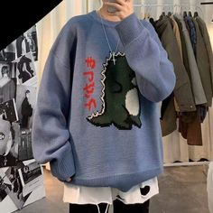 Cute Boy Outfits, Retro Outfits, Sweater Outfits, Tomboy Fashion, Fashion Outfits, Dinosaur Sweater, Baggy Clothes, Mini Robes, Short En Jean
