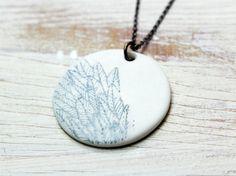 porcelain pendant feather print vintage necklace by goldenspleen, €24.00