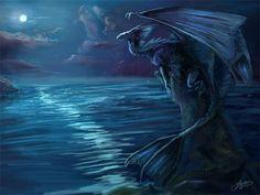 water dragon in moonlight