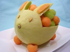 Hello Melon Bunny! What a fun way to serve fruit for Easter Brunch!