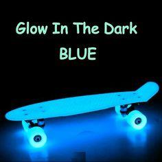 Blue glow in the dark Penny Board.