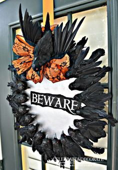 Halloween Wreath With Creepy Crows- Give your door some creepy halloween decor. Everyone is creeped out by crows, why not create a creepy diy halloween wreath. Spooky Halloween Decorations, Creepy Halloween, Holidays Halloween, Halloween Crafts, Halloween Wreaths, Halloween Party, Halloween Stuff, Halloween Night, Samhain Decorations