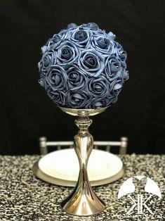 first birthday banner Flower Ball Centerpiece, Blue Wedding Centerpieces, Mickey Centerpiece, Crown Centerpiece, Flower Girl Bouquet, Blue Bouquet, Silver Flowers, Blue Flowers, Eiffel Tower Vases