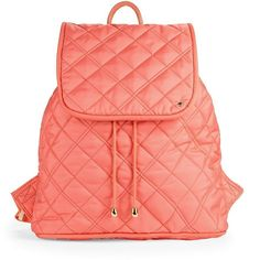 Lesportsac Quilted Backpack ($126) ❤ liked on Polyvore featuring bags, backpacks, salmon, red backpack, draw string bag, day pack backpack, draw string backpack and lesportsac backpack