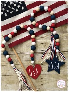USA Bead Garland, Patriotic Bead Garland, of July Bead Garland, Farmhouse Bead Garland with Tassel, Farmhouse Beads by EllensStudio on Etsy Patriotic Crafts, July Crafts, Bead Crafts, Diy Crafts To Sell, Patriotic Party, Wood Bead Garland, Diy Garland, Beaded Garland, Christmas Bead Garland