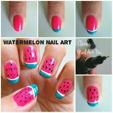 Watermelon nail art step by step