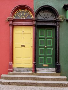"""Kilkenny Ireland. This is a perfect example of how people show their individuality.In countries like Guatemala and Mexico...the people live behind high walls,so their doorways are always unique and lovely.We all long to """"stand out"""" in some small way."""