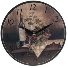 This listing is for one Vintage Style Shabby Chic MDF Wine Bottle and Grapes Scene Wall Clock. Price £12.99