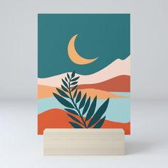 Buy Moonlit Mediterranean / Maximal Mountain Landscape Mini Art Print by kristiangallagher. Worldwide shipping available at Society6.com. #modern #tropical #decor #moon