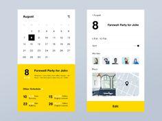 app介面較小,利用將事件與日期分開顯示的方式,來顯示整月的行事曆。事件顯示區利用顏色區隔外,再次提供當天日期與近一步的時間規劃。