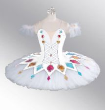 New White Professional Ballet Tutu Harlequinade Colombina Doll Costume YAGP