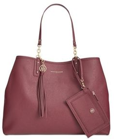 d27d76554dd5 TOMMY HILFIGER Tommy Hilfiger Reversible Double-Sided Tassel Tote.   tommyhilfiger  bags  leather  hand bags  tote
