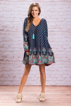 """""""Need You Madly Dress, Navy"""" You need this dress! Seriously! The print, those colors and that fit all scream fall! #newarrivals #shopthemint"""