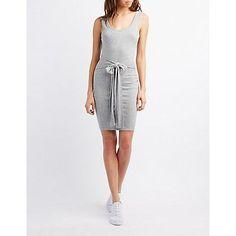 Gray Ribbed Tie-Waist Bodycon Dress - Size S