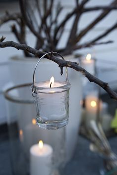 Ĭ Velas - Candles! Candle Lanterns, Candle Jars, Candle Holders, Glass Candle, White Christmas, Christmas Time, Christmas Lights, Bougie Partylite, Deco Noel Nature