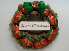Christmas Burlap Wreath, Holiday Wreath, Merry Christmas Wreath, Merry Christmas Sign, Holiday Front Door Wreath, Natural and Green Burlap, by BeautifulHomeAccents on Etsy