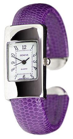 Narrow Purple Watch, Faux Snakeskin