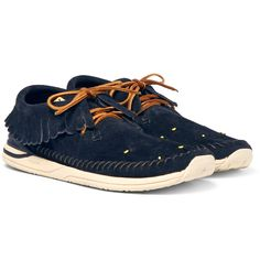 Mr Hiroki Nakamura, <a href='http://www.mrporter.com/mens/Designers/Visvim'>visvim</a>'s founder, first discovered moccasins when he was 17 and the silhouette has become one of the brand's signatures. Set on durable rubber soles, these 'Maliseet Shaman-Folk' sneakers are a reworking of the traditional style that's suitable for city pavements. The uppers are crafted from vegetable-tanned navy suede with contrasting lace...