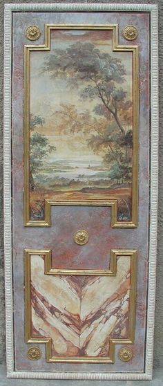 Decorative painted panel, trying to imagine closet doors painted with mouldings. Good way to camouflage fingerprint marks door moulding detail Closet Doors Painted, Painted Doors, Casa Versace, Decorative Panels, Decorative Mouldings, Grisaille, Faux Painting, Classic Interior, Hand Painted Furniture