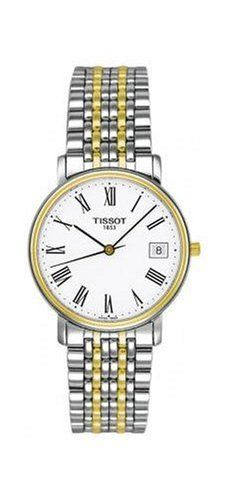 Tissot Men's T52248113 T-Classic Desire Two-Tone Watch Tissot. Save 9 Off!. $249.35. Water-resistant to 99 feet (30 M). Precise Swiss-Quartz movement. Scratch-resistant-sapphire crystal. Case diameter: 34 mm. Stainless-steel case; White dial; Date function
