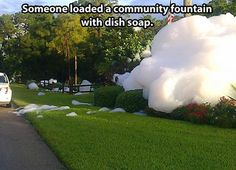 Dish soap disaster…yep...I saw this prank in my neighborhood...LOL. For best effect...pick a really windy day...