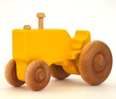 Wooden Toy Tractor - Waldorf Toy - Push Toy - Personalized - Wood Toy - Yellow Tractor via Etsy