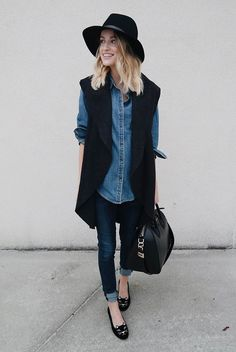 fall / winter - street style - street chic style - casual outfits - fall outfits - work outfits - comfy outfits - office wear - black long vest + denim shirt + skinny jeans + black flats + black handbag + black fedora