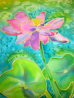 Lotus Flower Silk Painting by Marionette. www.kauai-artist.net